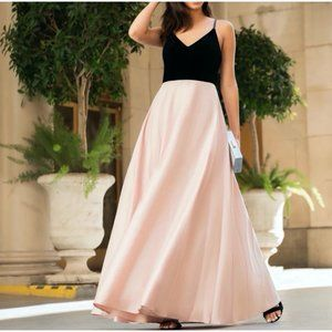 Ella Gown Black Velvet Blush Satin Maxi Dress Prom